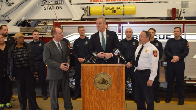 Mayor Rob Rolison, Rep. Sean Patrick Maloney, D-Cold Spring and City of Poughkeepsie Fire Chief Mark Johnson announce the hiring of seven firefighters to the City of Poughkeepsie Fire Department.