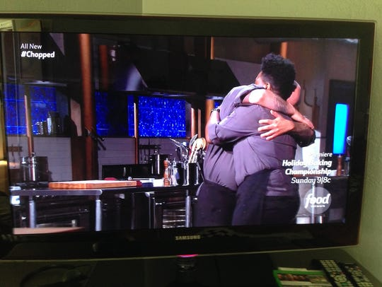 Ruiz and Blackman embrace in a big hug after he was