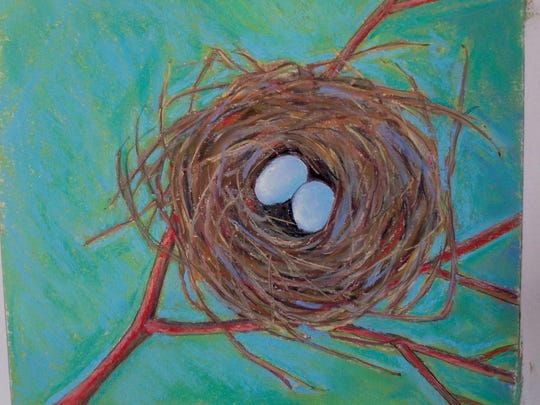 """Nesting,"" pastel by Bonnie Hartmann, one of the participants in this weekend's Sturgeon Bay Holiday Art Crawl."