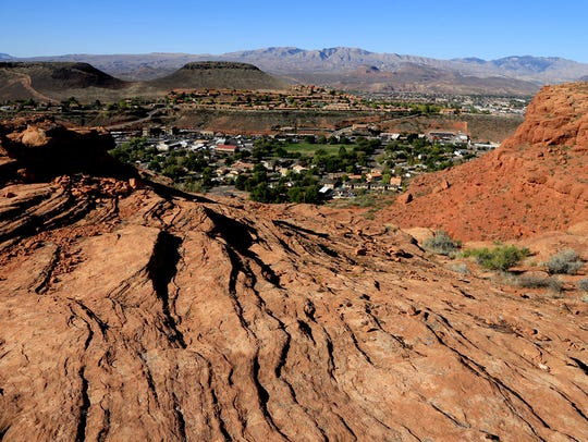 Owens Loop Trail in the Red Cliffs Desert Reserve above
