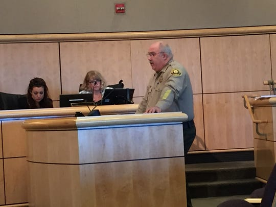 Sheriff Tom Bosenko discusses the adult rehabilitation center's costs at Tuesday's Shasta County Board of Supervisors meeting. The supervisors voted to cancel the project, determining the county can't afford it.
