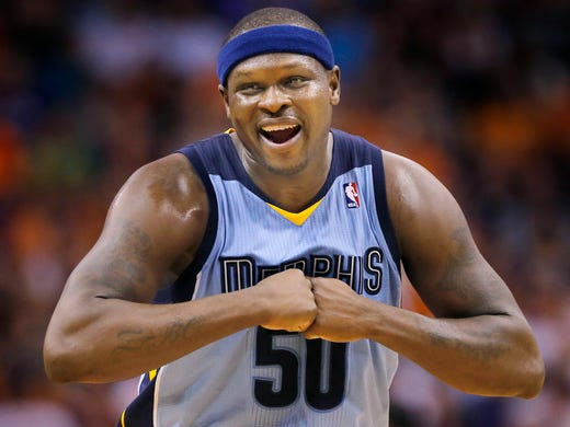 Memphis Grizzlies' Zach Randolph smiles during the