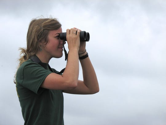 Emily Kimmel keeps her eyes on the skies during a previous