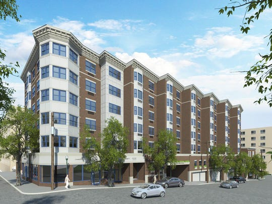 A rendering of the 75-unit affordable apartment building