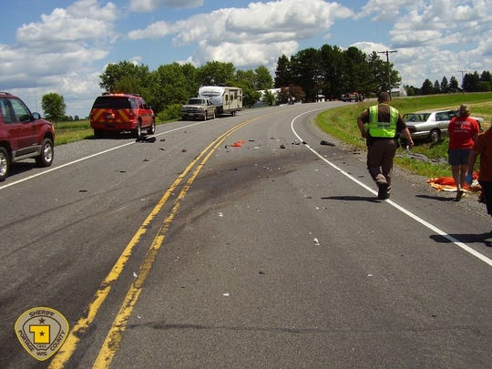 The scene of a fatal crash that happened shortly after 2 p.m. July 8, 2017 in the town of Alban in Portage County.