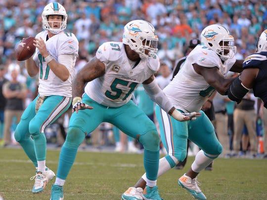 Miami Dolphins quarterback Ryan Tannehill (17) looks