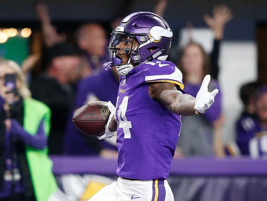 """Stefon Diggs celebrates after the """"Minneapolis Miracle."""" Another miracle wasn't in the cards Sunday for the Minnesota Vikings, who lost 38-7 at Philadelphia."""