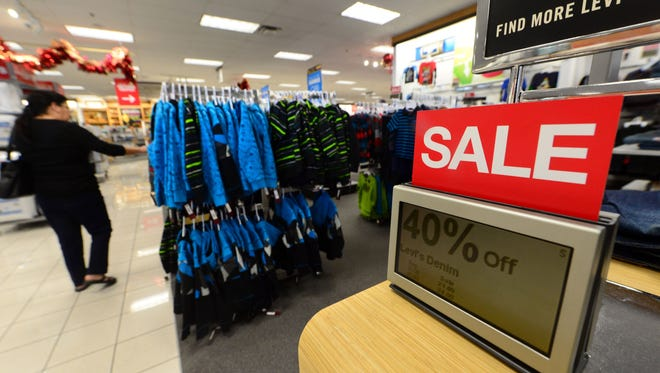 A Kohl's department store in Alhambra, Calif. promotes its sale on jeans.