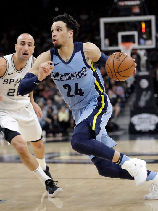 Memphis Grizzlies forward Dillon Brooks (24) drives around San Antonio Spurs guard Manu Ginobili (20) during the first half of an NBA basketball game, Monday, March 5, 2018, in San Antonio. (AP Photo/Eric Gay)