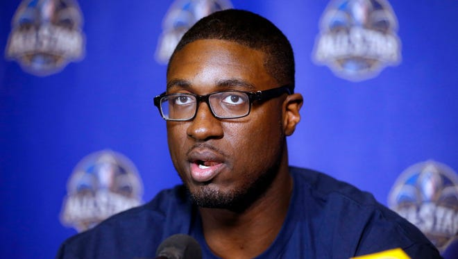 Eastern Conference forward Roy Hibbert during the 2014 NBA All Star game Player Press Conferences at New Orleans Hyatt.