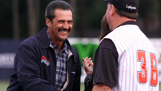 Ron Guidry is shown here being honored during a ceremony at Tigue Moore Field retiring his No. 3 Ragin' Cajun jersey.