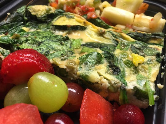 Vegetable frittata with summer salsa and fresh fruit.