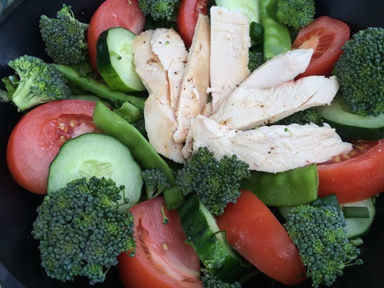 A farmers market apple wood smoked chicken salad