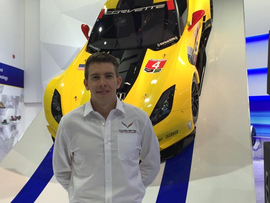 Corvette driver Tommy Milner and Corvette destined for 24 Hours of Daytona and Le Mans 24.