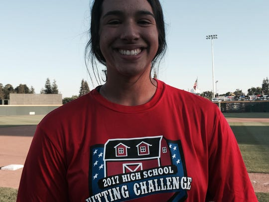 Mariah Mazon, a 2017 Mission Oak High School grad, won the girls High School Hitting Challenge on Monday at the 2017 California League Fan Fest at Recreation Park.