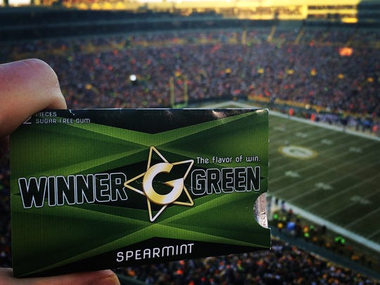 Winner Green gum at Lambeau Field