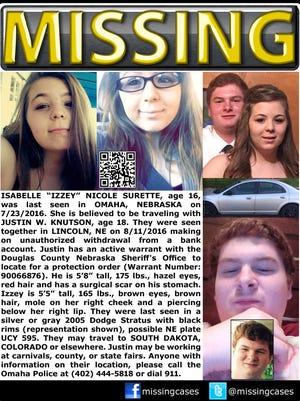 A missing poster for Isabelle Surette, 16, and Justin Knutson, 18, who were last seen in Omaha, Neb.
