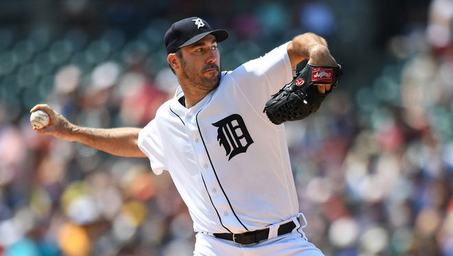 Aug 20, 2017; Detroit, MI, USA; Tigers starting pitcher Justin Verlander pitches during the first inning against the Dodgers at Comerica Park.