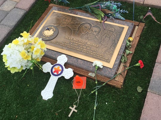 A memorial to Sean Misner, one of 19 in place at the
