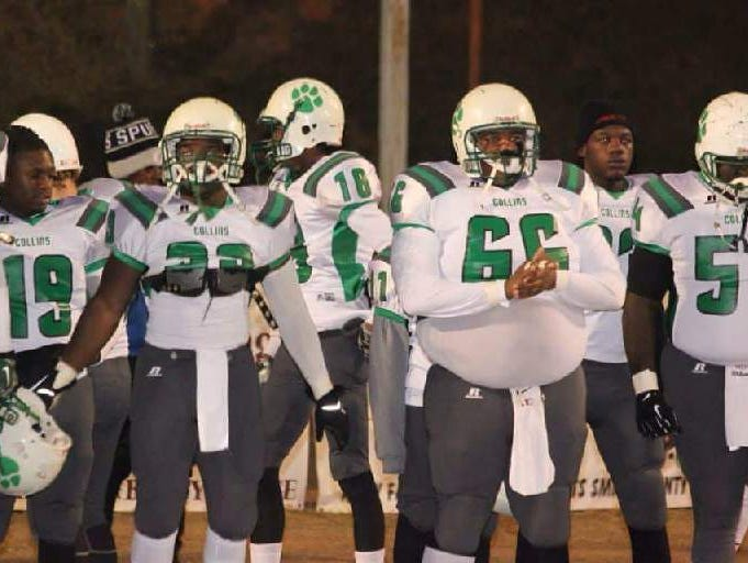 Former Collins football player Jabarri Goudy (66) stands along the sideline during a game last season. Goudy, 17, was killed in a July shooting outside a Hattiesburg nightclub.