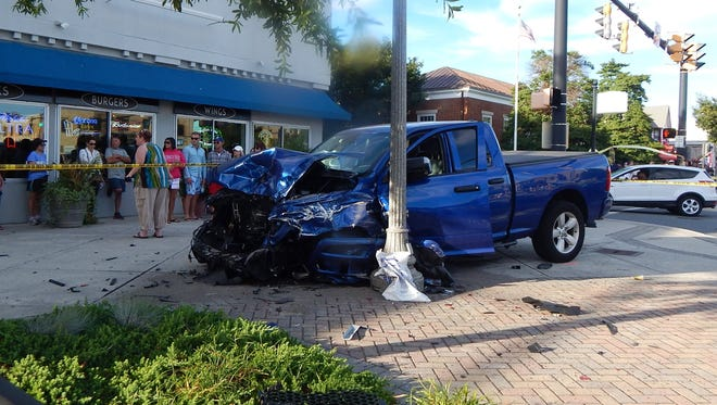 Rehoboth Beach police said the driver of this truck got into a wreck with eight different cars, injuring himself and four other people, on Saturday, July 7, 2018.