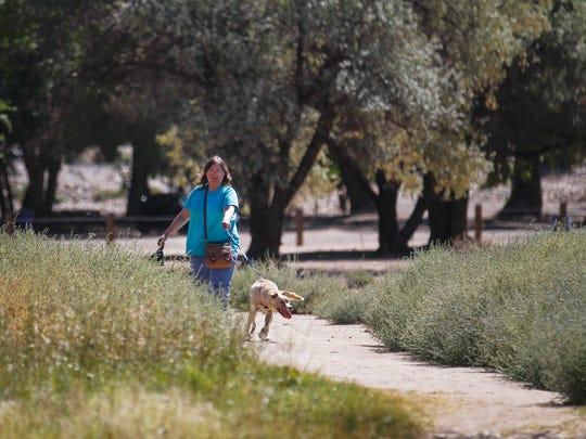 Sarah Branch walks a dog from the Farmington Animal Shelter Monday, Sept. 25, 2017 at Animas Park in Farmington.