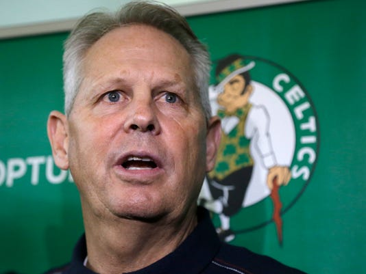 Boston Celtics NBA basketball general manager Danny Ainge speaks at a news conference Friday, July 14, 2017, in Waltham, Mass., to announce that the team has officially signed free-agent Gordon Hayward. (AP Photo/Elise Amendola)