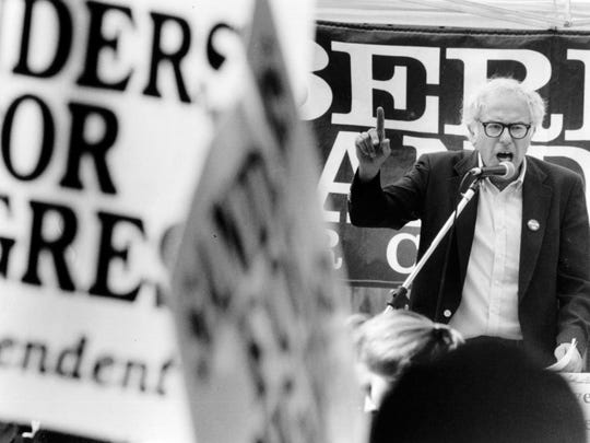 Bernie Sanders holds a rally to kick off his campaign for U.S. Congress in Burlington, Vt., in this Sept. 16, 1988, file photo.