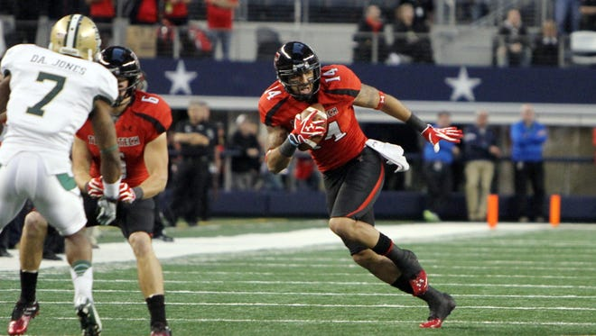 Arizona Rattlers wide receiver Darrin Moore caught 92 passes for 1,032 yards and 13 touchdowns for Texas Tech in 2012.
