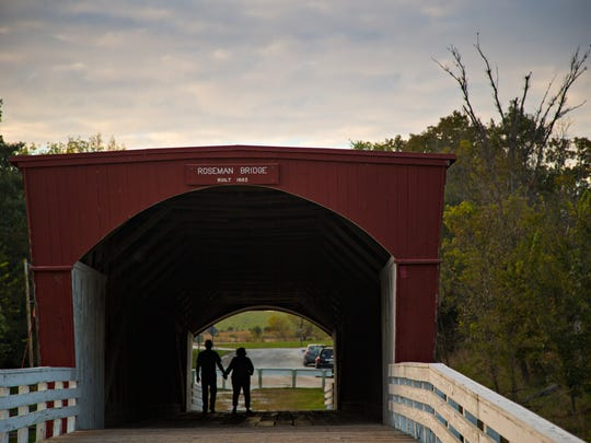 The Roseman covered bridge in Madison County Tuesday, Oct. 6, 2015.