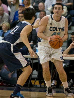 CBA's Pat Andree goes to the hoop. Christian Brothers Academy vs Manasquan semifinal game of the Shore Conference Tournament takes place at the Pine Belt Arena.Toms River, NJ Tuesday, February 23, 2016