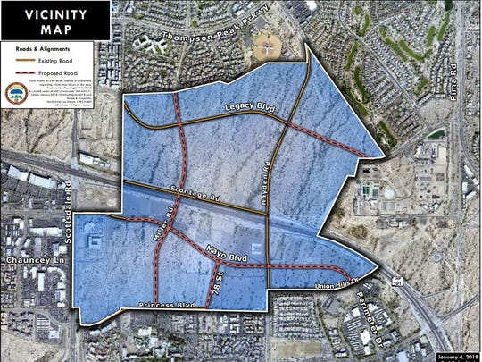 This map represents the 1,000 acres of undeveloped land known as Crossroads East. The yellow lines represent existing roads, Hayden Road, Legacy Boulevard and Frontage Road. The dotted red lines represent the proposed roads that will be constructed when development on Crossroads East begins.