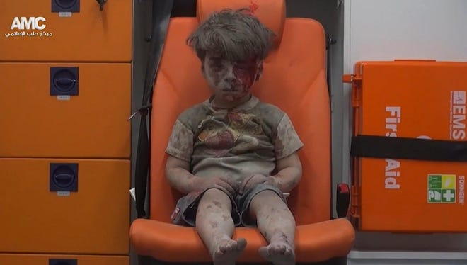 Omran Daqneesh in Aleppo, Syria, on  Aug. 17, 2016.