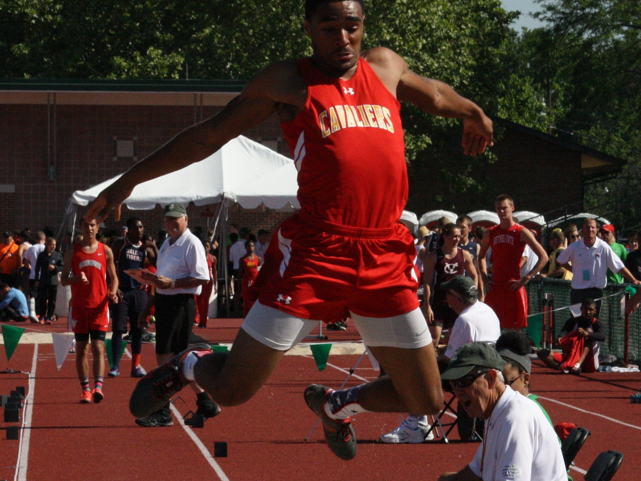 Purcell Marian's Jair Knox leaps and lands his first jump in the long jump competition at the OHSAA Division II state track and field championships last June at Jesse Owens Memorial Stadium on the campus of Ohio State University. Knox placed eighth in the event.