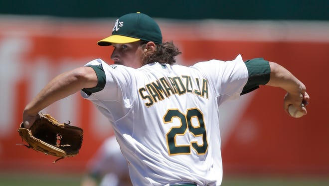 Oakland's Jeff Samardzija won't be able to pitch in the All-Star Game because he was selected to the NL team for his work as a Chicago Cub prior to a trade.