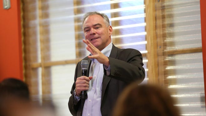 Democratic vice presidential nominee Tim Kaine touts Hillary Clinton's plans to help small businesses during a visit Friday to startup incubator Domi Station.