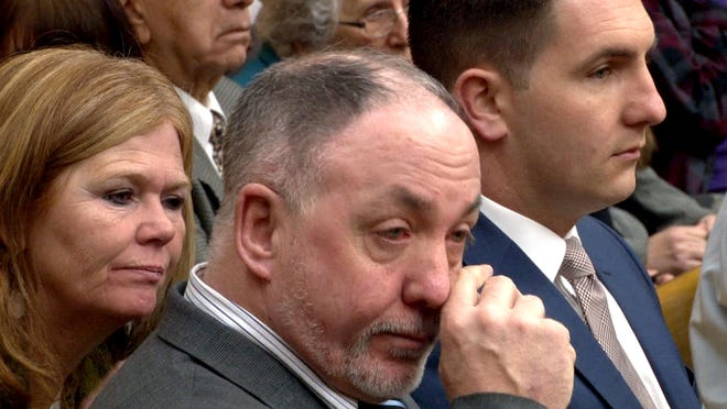 Frances Duddy's father Dan wipes away tears during Connor P. Hanifin's sentencing hearing before Judge Wendel E. Daniels in State Superior Court in Toms River, NJ, Friday, January 23, 2015. Hanifin was sentenced to 42 months in prison for the vehicular homicide of his best friend Francis. TOMS RIVER, NJ HANIFINSENETNCING0123I WITH VIDEO ASB 0124 Car Death sentencing STAFF PHOTO BY THOMAS P. COSTELLO ~