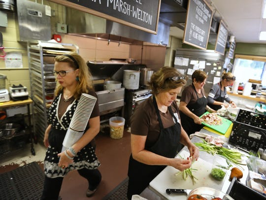The busy kitchen at La Soupe in Newtown creates soup