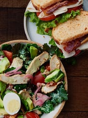 A Panera sandwich and salad
