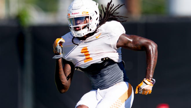 Tennessee's wide receiver Marquez Callaway (1) runs through a drill during Tennessee fall football practice at Anderson Training Facility in Knoxville, Tennessee on Thursday, August 24, 2017.