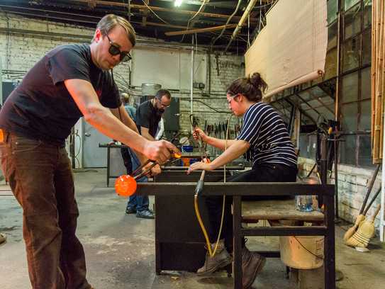 Resident artists at N.C. Glass Center in the River