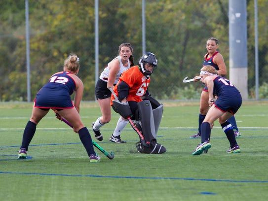 Bloomsburg University goalie Hannah Barnard, a Vestal