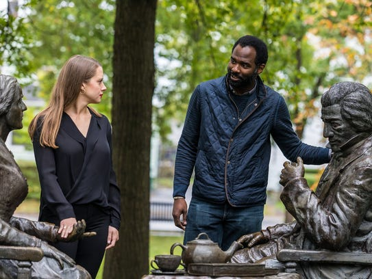 Actors Madeleine Lambert and Cedric Mays at Susan B. Anthony Square in Rochester.  The pair will star in 'The Agitators,' a play at Geva Theatre   that explores the friendship between activists Susan B. Anthony and Frederick Douglass.