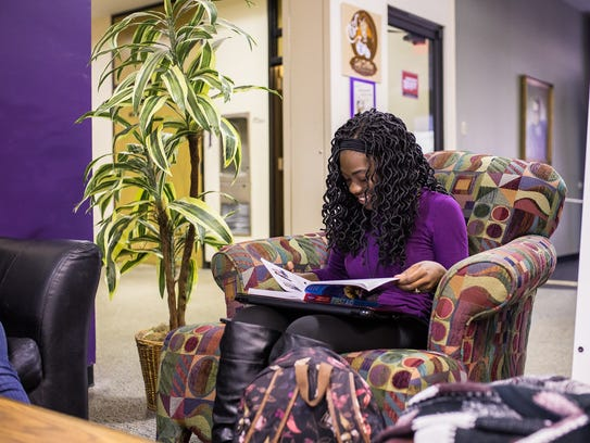 Kimberly Higgins, a freshman radiologic technology major at Northwestern State University, studies first aid in Watson Memorial Library.