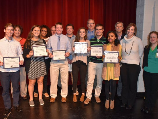 Outstanding seniors who were recognized in the 2017 Wendy's High School Heisman Award contest include: Certificate of achievement for Stephen Sabo of James M. Bennett High School, school winner and state finalist; certificates of recognition to school winners Jaibyn Hull, James M. Bennett High School; Bryce Bond and Leah Disbennett, Mardela High School; Connor Lefort and Abigail Roskovich, Parkside High School; Jason Keller and Taylor Russ, Wicomico High School