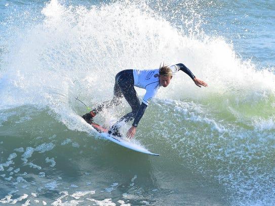 San Clemente, California, native Kevin Schulz (USA) blasted the day's highest single-wave score of a 7.67.