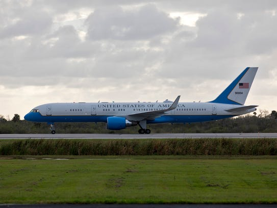 Air Force Two, carrying Vice President Mike Pence,
