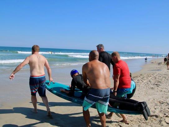 Jay Liesener, a paraplegic surfer from Milton, required