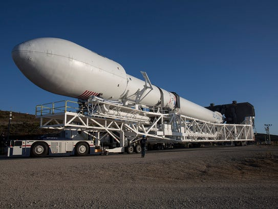 A SpaceX Falcon 9 rocket rolled to its pad last month