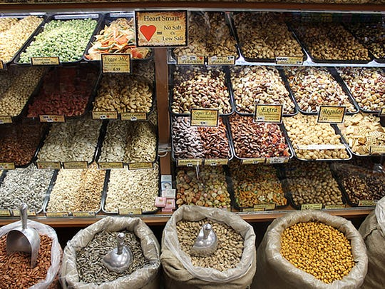 Assorted nuts at Hashems Roastery. The roastery is a stop on the Yalla! Eats tour.